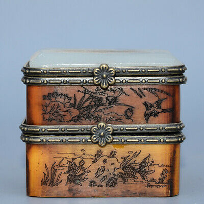 Collectable Old Boxwood Inlay Jade Hand-Carved Mandarin Duck Delicate Jewel Box
