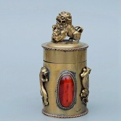 Collect Old Bronze Inlay Agate Carve Lion & Kylin Delicate Luck Toothpick Box