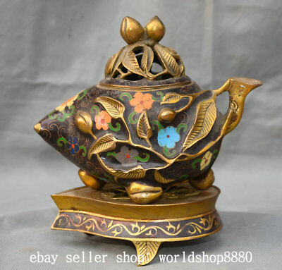 "8"" Old Chinese Palace Cloisonne Bronze Gild Peach leaf Pot incense burner Censer"