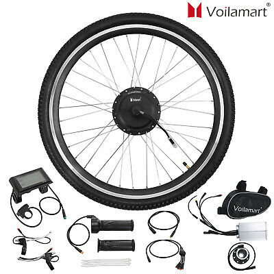 """Voilamart 500W Electric Bicycle Ebike Conversion Kit Front Wheel 26"""" LCD Meter"""
