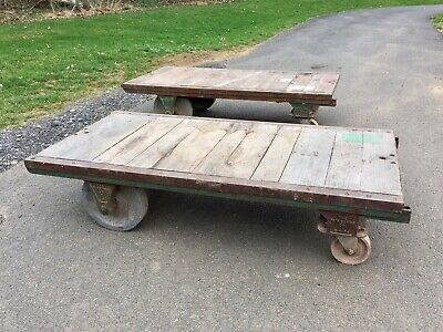Pair of Antique Fairbanks Industrial RR Factory Carts VTG Coffee Table Steampunk