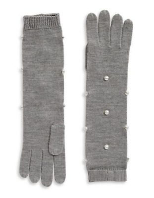 Kate Spade Wonen's Pearl Embellished Gray Wool Cashmere Long Gloves w Bow