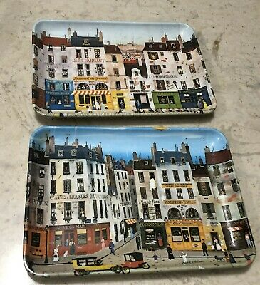 MICHEL DELACROIX ITALY PARIS FRENCH CITY SCENE TIP SERVING TRAY SIGNED Set of 2