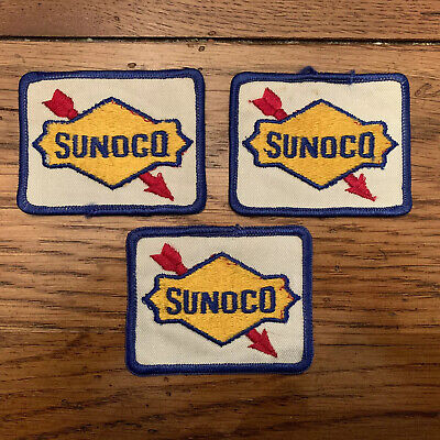 "3 Vintage Sunoco 3"" X 2.1/8"" Patches."