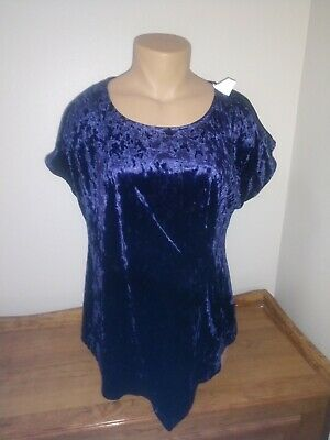 Womens Size 2X Navy Blue Crushed Velvet NY Collection NWT Retail $49.00