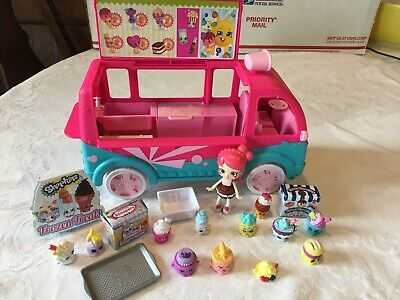 SHOPKINS Ice Cream Truck Van Bus with Doll & Accessories MOOSE 19 Pcs.
