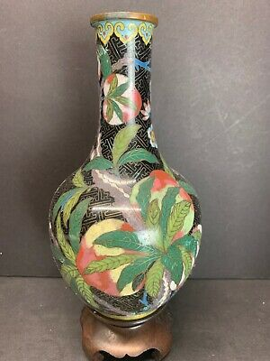 Vtg 19Th C. Chinese Cloisonne Enamel Multi Color Peach Flowers Vase With Base