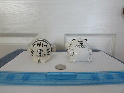 Black And White Striped Chubby Cat Salt And Pepper Shakers Pier 1 Retired