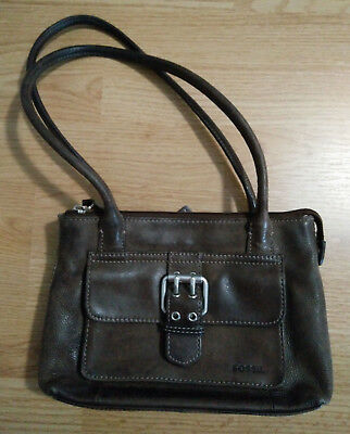 Fossil Purse Hand Bag Small Genuine Leather Mini Satchel SL8763 Organizer Brown