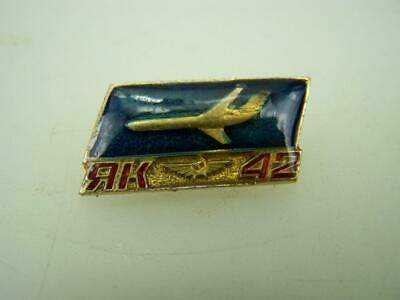 Vintage 1970s promotional pin back badge Yakovlev Yak 42 Russian aircraft 93