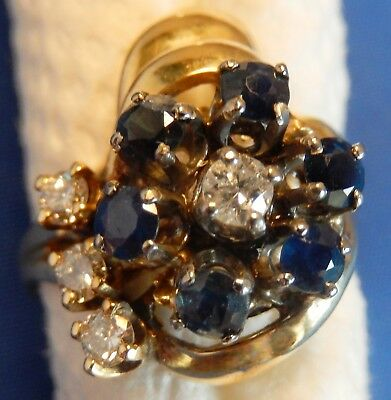 18K Gold Cocktail Ring - Ladies - 6 Blue Sapphires - 4 Diamonds - wt. 2 ct.