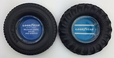 """WOW! Vintage Lot of 2 GOODYEAR TIRE Ashtrays 6.5"""" Original Trays RARE EXCELLENT"""