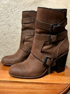 "Calvin Klein ""Susie"" Womens Brown Leather Ankle Boots, Size 8.5, Gently Worn"