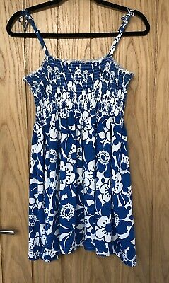 Girl's MARKS & SPENCER Floral Blue & White Elasticated Strappy Dress Age 14