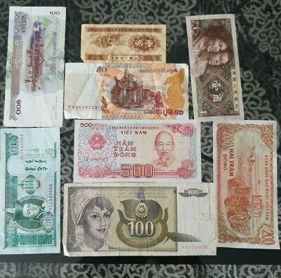 Nice old 8 Bank Note Currency Money No Reserve lot bundle mix world collector c3