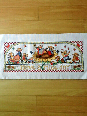 Handmade Unframed Completed Cross Stitch - Have a Mice Day