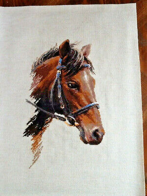 Handmade Completed Unframed Cross Stitch - Horses Head