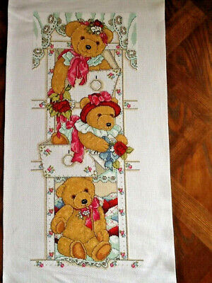 Handmade Completed Unframed Cross Stitch - Bears in Drawers