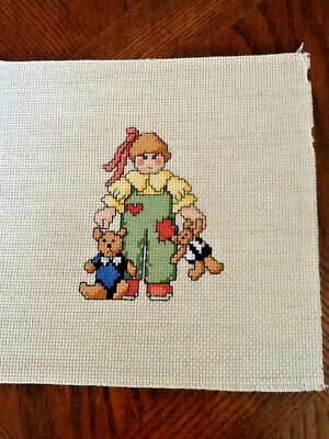 Handmade Completed Unframed Cross Stitch - Girl with Bears