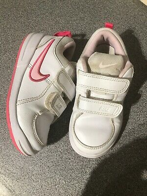 Girls Pink And White Nike Trainers Size 8.5