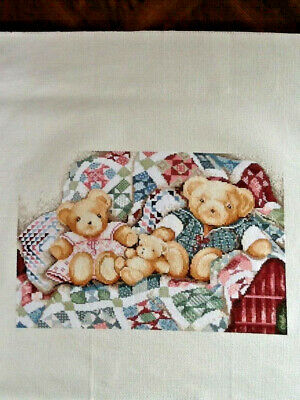 Handmade Completed Unframed Cross Stitch - Bears on Patchwork Blanket