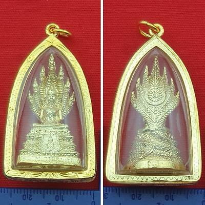 7 Heads Naga Antiques Serpent Phra Nak Prok Gold Case Thai Buddha Pendant Amulet