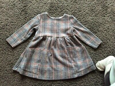 Baby Girls Next Grey Pink Check Long Sleeved Dress 9-12 Months