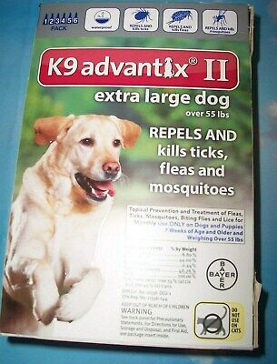 6 Pack EXTRA LARGE DOGS * K9 Advantix II Flea Tick Spot-On Treatment >55 lbs XL