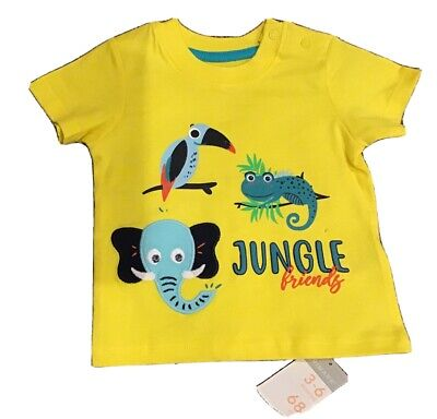 Primark Boys Baby Yellow Shirt Size 3-6 Months 68 CM Brand New With Tags Animals