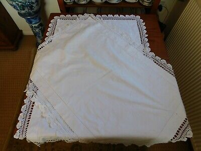 Antique vintage lace pillow cases early 20th century in white cotton