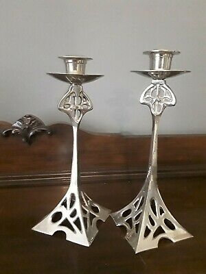 Beautiful Pair Of Art Nouveau Silver Plated Candlesticks Attic Find