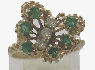 14k Yellow Gold Diamond and Emerald Butterfly Ring