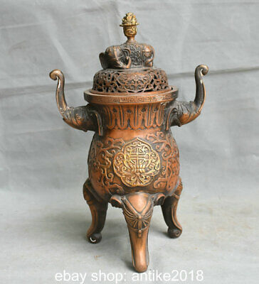 "13.6"" Marked Old Chinese Copper Feng Shui 3 Elephant Feet Incense Burners"
