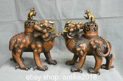 """12"""" Old Chinese Copper Feng Shui Foo Dog Lion Unicorn Incense Burners Pair"""