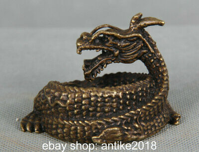 """2.4"""" Ancient Chinese Bronze Copper Feng Shui Dragon Loong Animal Lucky Sculpture"""