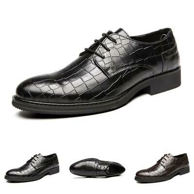 Mens Low Top Business Leather Shoes Pointy Toe Oxfords Wedding Party Lace up New