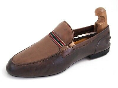 Gucci Moccasin Loafers Brown Leather Mens Shoe Size EU 42.5 UK 8.5 £485