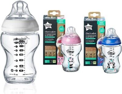 Tommee Tippee Closer to Nature Glass Bottle 250ml Natural Baby Feeding +0Months