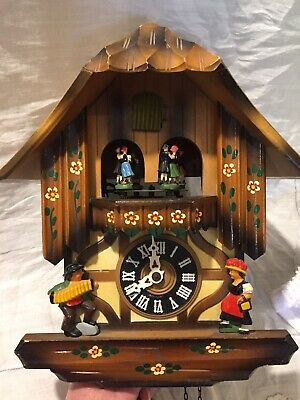Vintage German Cuckoo Clock Musical Chalet Repair Or Parts Albert Schwab