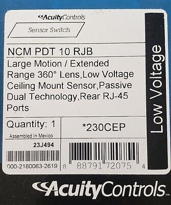 ACUITY CONTROLS SENSOR SWITCH LOW VOLTAGE CEILING MOUNT #NCM PDT 10 RJB NEW