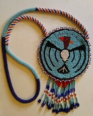 Authentic Vintage Native American Beaded Bird Medallion Necklace