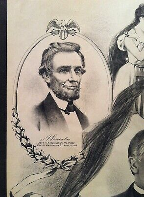 Vintage Original 1901 Assassinated Presidents Lincoln Garfield McKinley Print