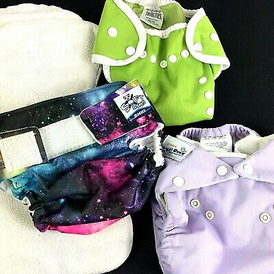 Lot 3 Cloth Reusable Washable Baby Diapers Adjustable & Inserts Small