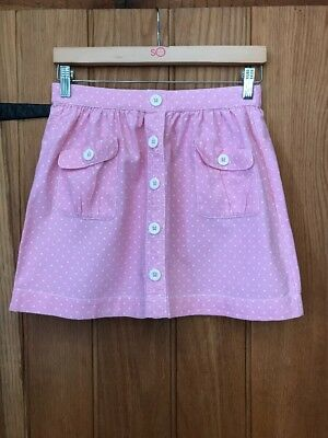 Mini Boden Girls Lovely Pink/White Spots Skirt Two Pockets Age 9-10yrs