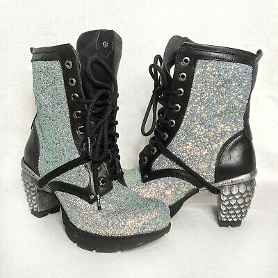 New Rock Glitter Boots 37 Uk4 Vegan Leather Used Once