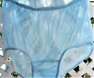 Blue V-Lace See-Thru Acetate Sheer Unlined Crotch Granny Panty Brief M/L