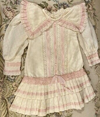 """Fine French Type Cotton Doll Dress for 22"""" Antique Bisque Doll Orig Price $149!"""