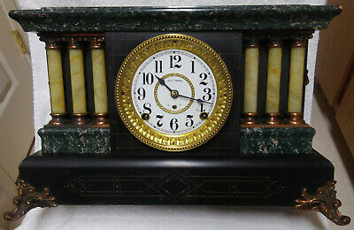 Antique 6 Column Seth Thomas Adamantine Mantle Clock With Lions Heads, Serviced