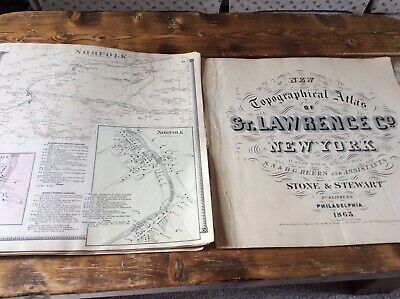 NORFOLK  NY Authentic Map  Disbound From 1865 Topographical Atlas  S & D Beers