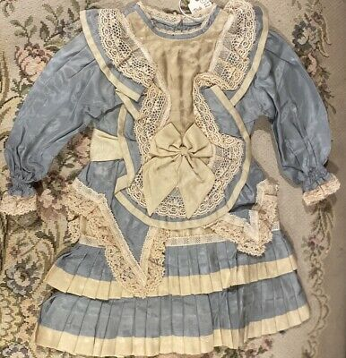 """Fine French Type Silky Doll Dress for 22"""" Antique Bisque Doll Orig Price $139!"""